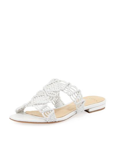Rondah Crocheted Leather Slide Sandal, White
