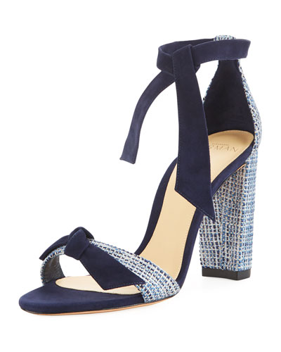 Clarita Tweed Block-Heel Sandal