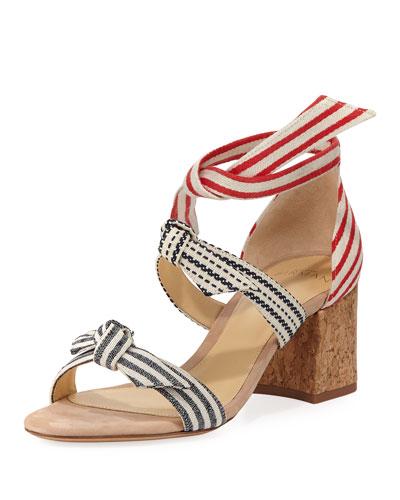 Lolita Striped Block-Heel Sandal