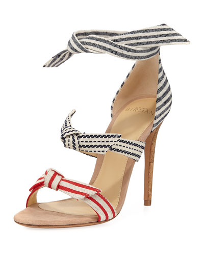 Lolita Three-Strap Canvas Sandal