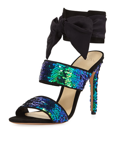 Beverlee Sequined Ankle-Cuff Sandal