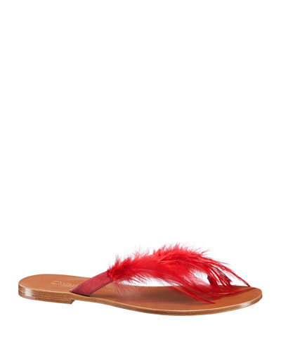 "ETHNIE"" FEATHER THONG SANDAL"""