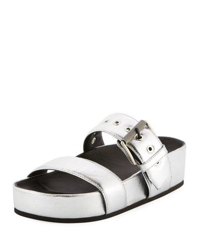 Evin Metallic Platform Sandal, Silver