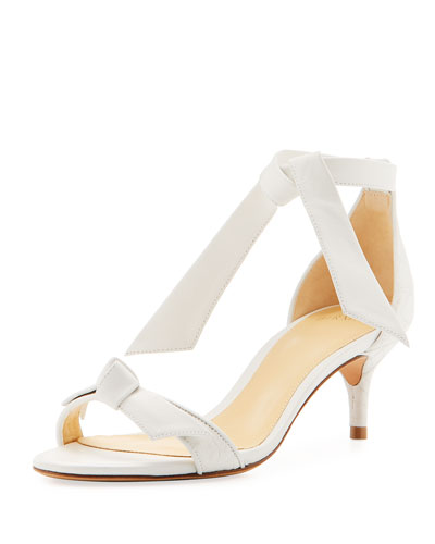 Clarita 50mm Crocodile Bow Sandal, White
