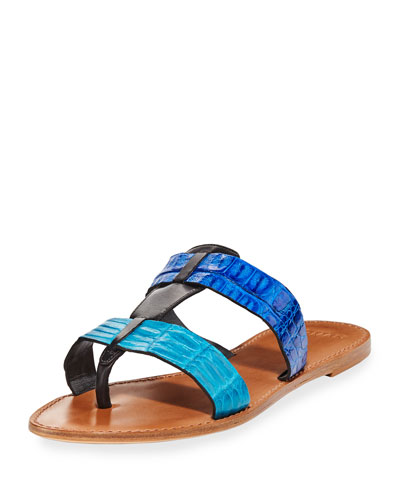 Carmina Crocodile Slide Sandal, Blue