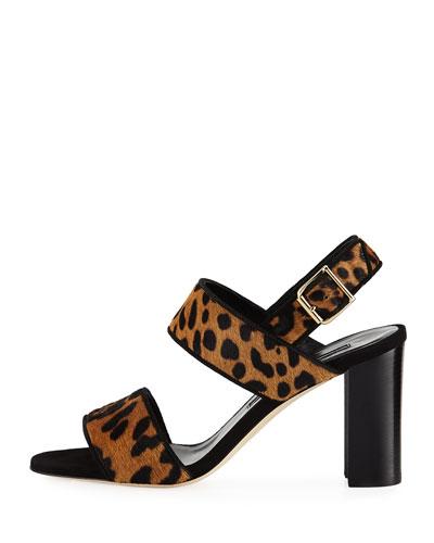 Manolo Blahnik Khan Calf-Hair 90mm Sandal