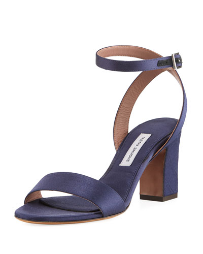 Leticia Satin Ankle-Wrap Sandal with Quilted Heel