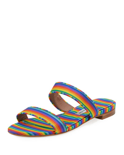 Loopsey Striped Two-Band Flat Sandal