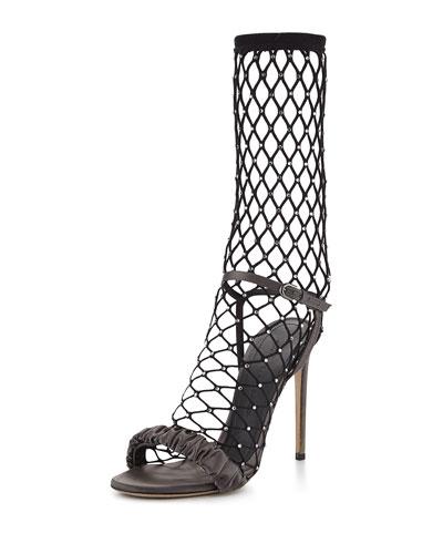 Crystal-Embellished Fishnet Sandal