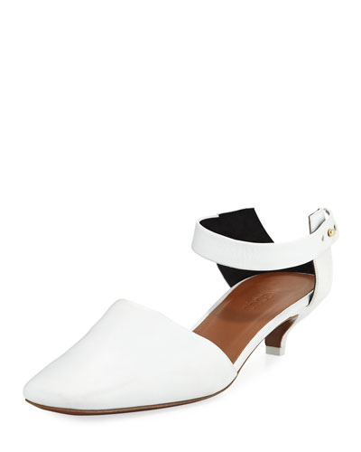 Dorsey Leather Kitten-Heel Pump