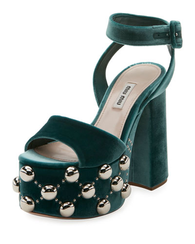 Velvet Studded Platform Sandal