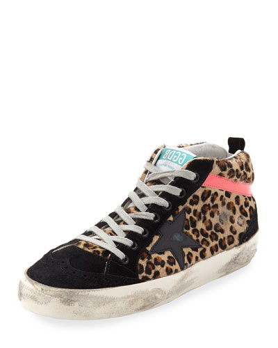 Mid-Top Leopard Calf Hair Sneaker