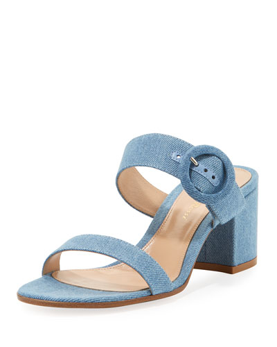 Denim Two-Band Slide Sandal