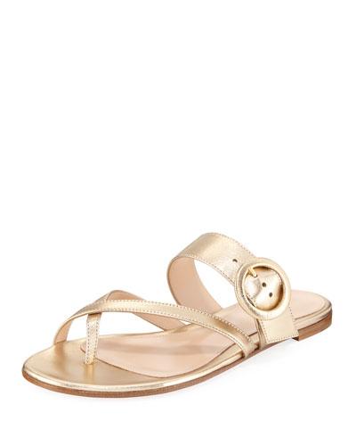 Strappy Flat Metallic Leather Slide Sandal