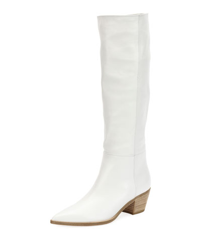 Napa Leather Block-Heel Knee Boot
