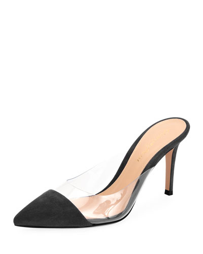 Illusion Suede Cap-Toe Mule Pump