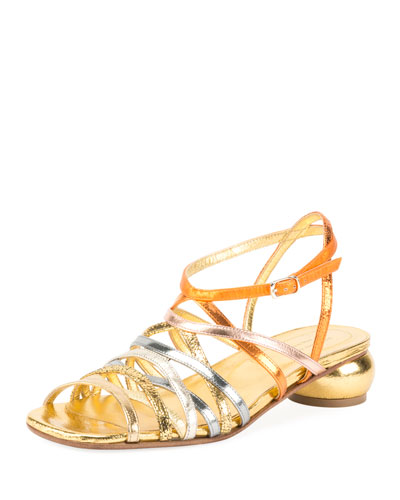 Metallic Strappy Low-Heel Sandal