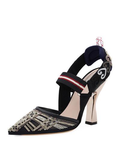 Crystal Mesh Slingback Sandal