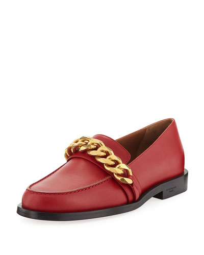 Smooth Chain-Trim Loafer, Red