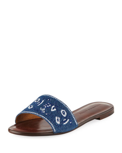 Flor Embroidered Denim Flat Slide Sandal