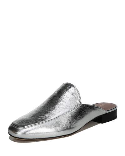 Lexington Flat Metallic Leather Mule