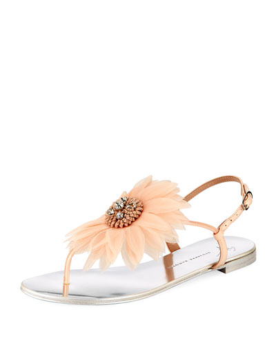 Flat Thong Sandal with Jeweled Flower