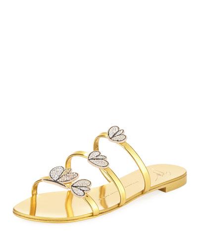 Crystal-Embellished Metallic Three-Strap Slide Sandal
