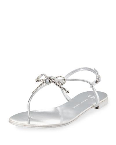 Metallic Leather Bow Thong Sandal