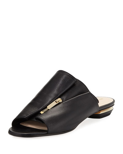 Kristen Zip-Trim Leather Mule Slide Sandal - Golden Hardware