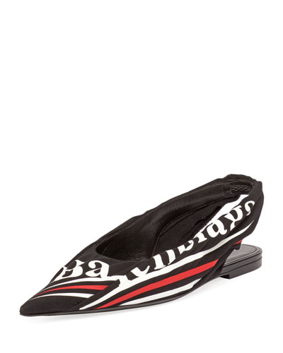 Ruched Logo-Print Pointed Toe Flat
