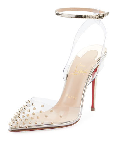 Spikoo Spiked Ankle-Wrap Red Sole Pumps