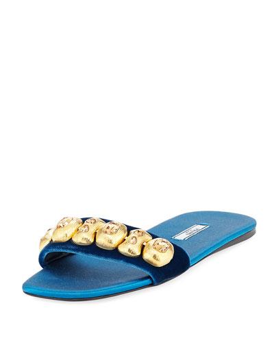 Embellished Velvet Flat Slide Sandal
