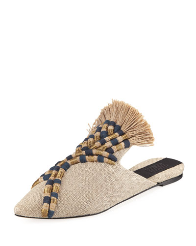 Striped Embroidered Flat Mule