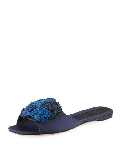 Flat Satin Slide Sandal with Floral Embroidery