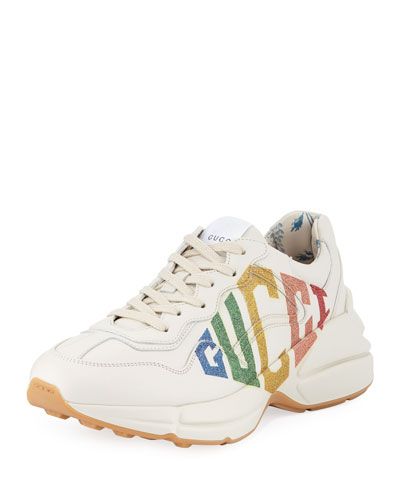 Rhyton Rainbow Gucci Leather Trainer