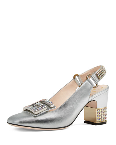 Madelyn 75mm Metallic Leather Slingback Pump