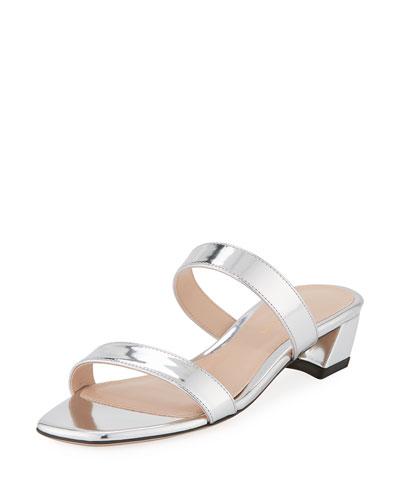 Ava Low-Heel Metallic Leather Slide Sandals