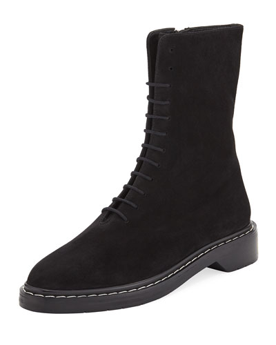 Fara Lace-Up Suede Combat Boot, Black