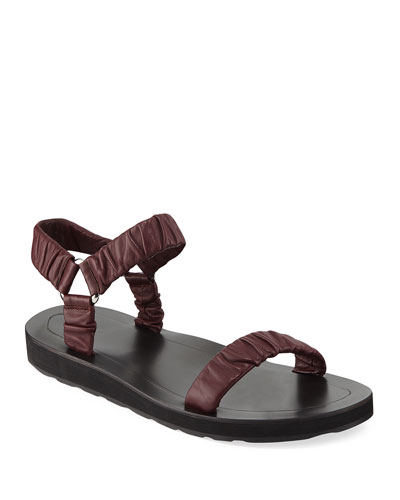 Egon Ruched Flat Leather Sandal