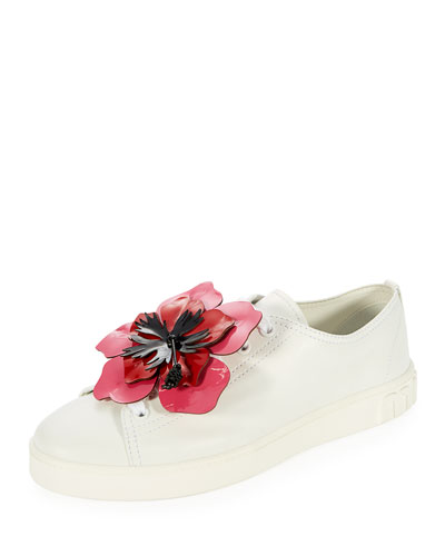 Flower-Embellished Leather Low-Top Sneaker