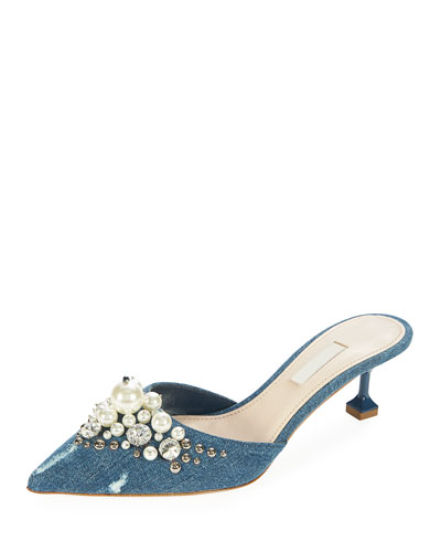 Pearly Beaded Denim Mule Pump