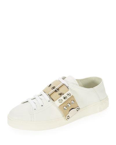 Leather Stud-Buckle Sneaker