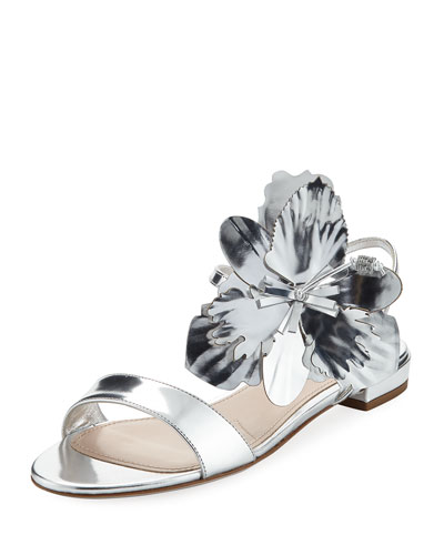Flower Metallic Flat Sandal