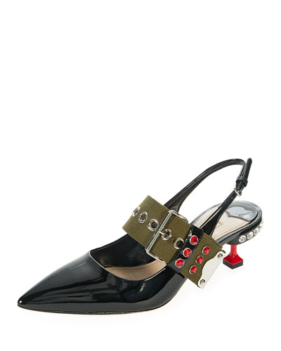 Patent Buckle-Strap Slingback Pump