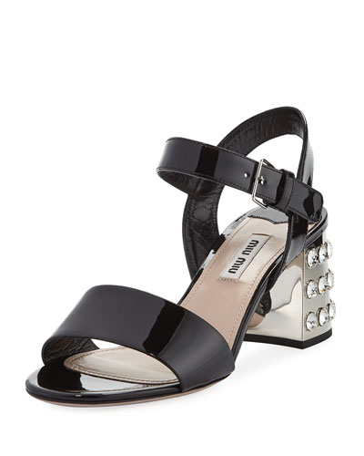Jeweled-Heel Patent 65mm Sandal