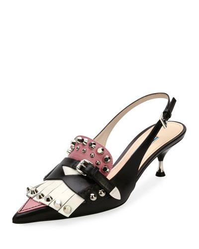 Studded Point-Toe Kiltie Slingback Pump