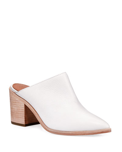 Flynn Leather Block-Heel Mule