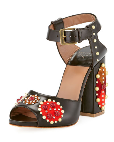 Rosemary Studded Leather Patchwork Sandal