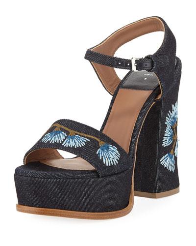 Perla Embroidered Denim Platform Sandal