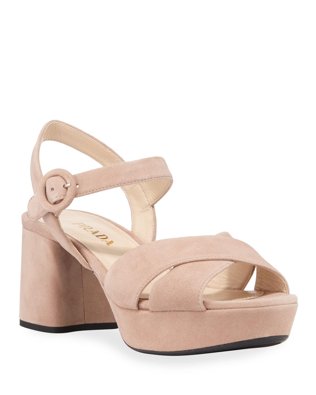 Prada Suede Crisscross Ankle-Wrap 65Mm Sandals In Beige